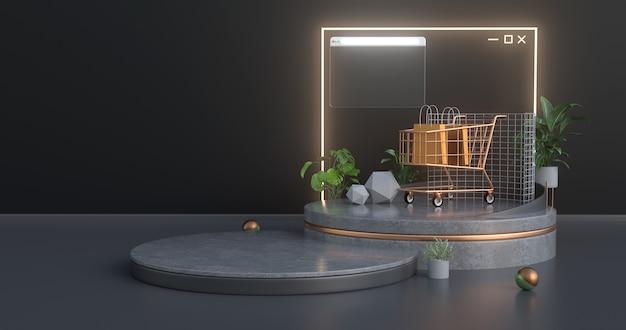 Wózek Na Zakupy Stoi Na Betonowym Podium I Ma Z Tyłu Podświetloną Neonem Ikonę Strony Internetowej. Premium Zdjęcia