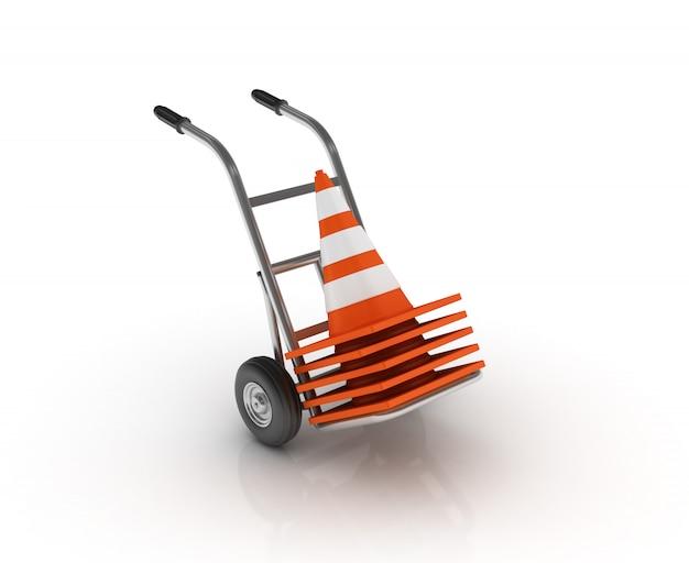 Wózek Ręczny Ze Stożkami Ruchu Premium Zdjęcia