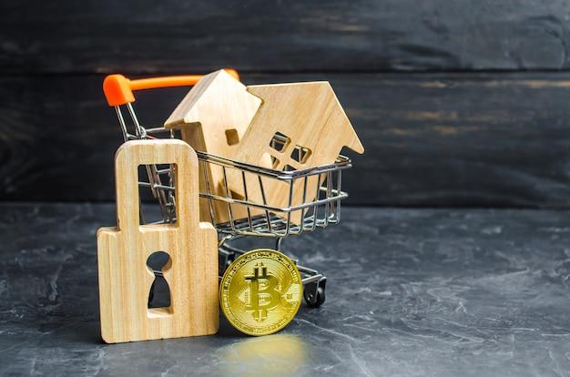 Wózek Supermarketowy Z Domami I Bitcoinem I Kłódką. Wartość Wzrostu Premium Zdjęcia