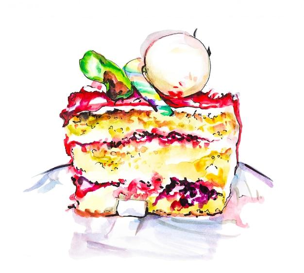 Wręcza Patroszonego Akwarela Plasterek Kremowy Kulebiak Z Kwiatami, Odosobniona Tortowa Ilustracja Na Bielu Premium Zdjęcia