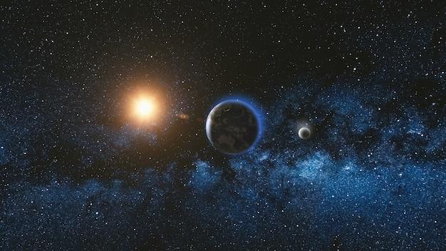 Wschód Słońca Widok Z Kosmosu Na Planecie Ziemia I Księżyc Premium Zdjęcia