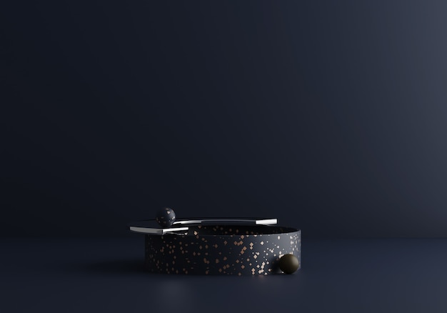 Współczesna Nowoczesna Kompozycja Absract W Ciemnoniebieskich Odcieniach Z Lastryko I Szkłem. Modny Redner 3d Premium Zdjęcia