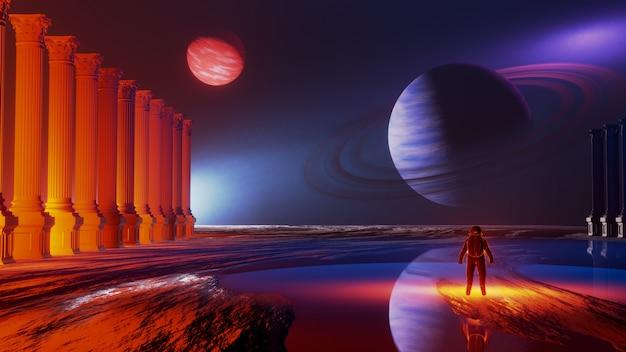 Wszechświat i przestrzeń kosmiczna, eksploracja powierzchni planety. Premium Zdjęcia
