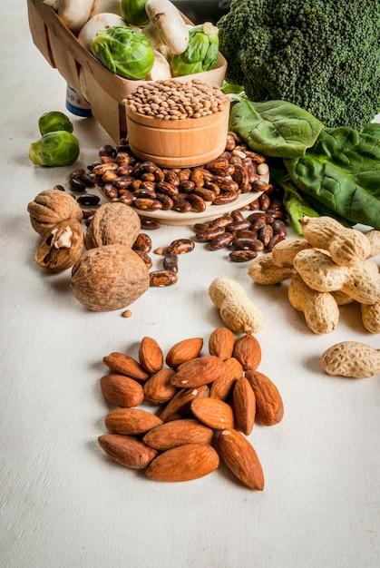 Wybór Produktów O Wysokiej Zawartości Białka Roślinnego Premium Zdjęcia