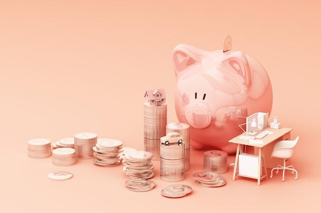 Wybredny Bank I Moneta, Do Inwestowania Pieniędzy, Pomysły Na Zaoszczędzenie Pieniędzy Do Wykorzystania W Przyszłości. Ze Stołem Roboczym Oraz Samochodem I Domem. Renderowania 3d Premium Zdjęcia