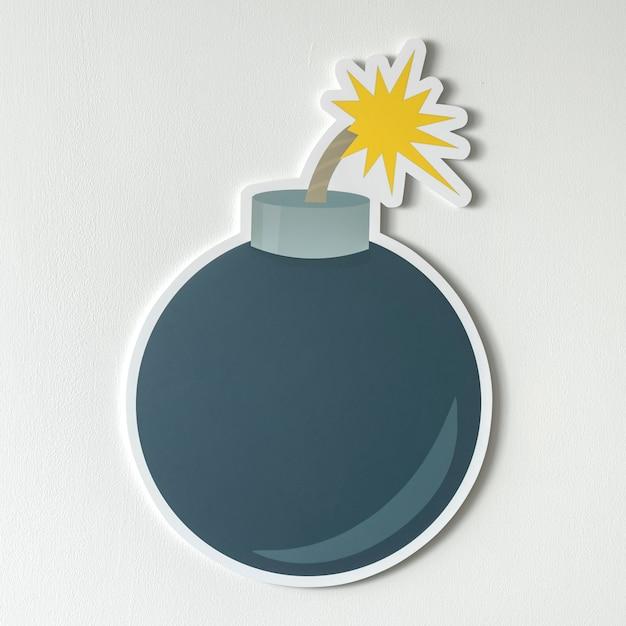 Wybuchowa bomba z płonącą knot ikoną Darmowe Zdjęcia