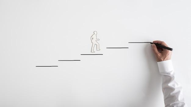 Wycinanka Sylwetka Papieru Człowieka I Biznesmen Rysunek Kroki Premium Zdjęcia