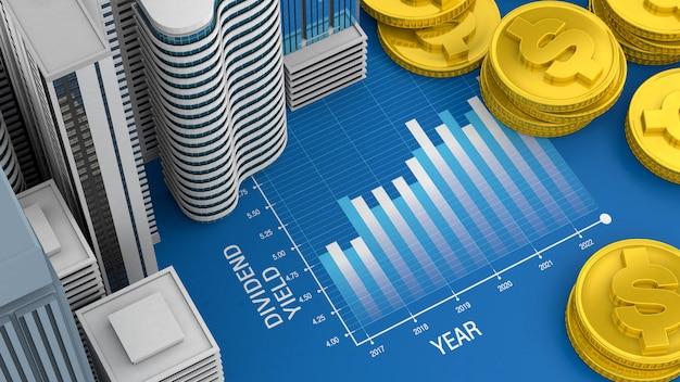 Wykres Dochodu Z Dywidendy Dla Nieruchomości I Inwestycji W Nieruchomości Premium Zdjęcia