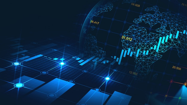Wykres giełdowy lub forex w koncepcji graficznej Premium Zdjęcia