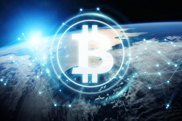 Wymiana Bitcoinów Na Renderingu 3d Planety Ziemia Premium Zdjęcia