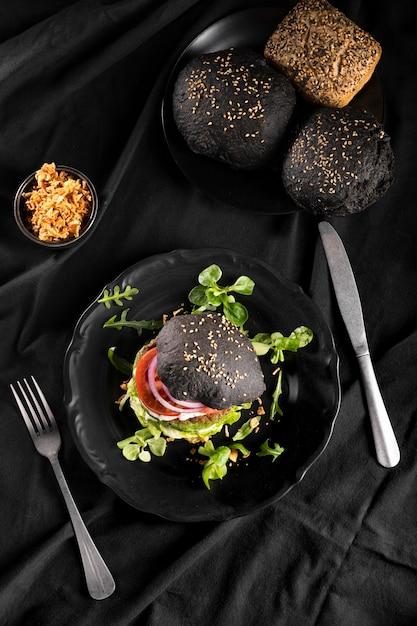 Wysoki Kąt Pysznej Kompozycji Burgera Darmowe Zdjęcia