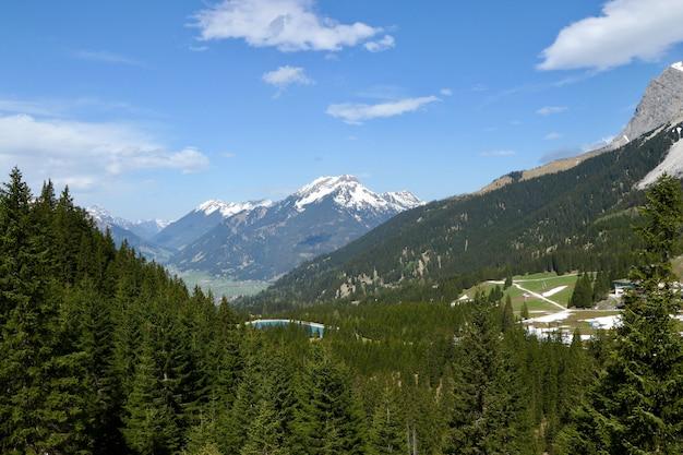 Wysoki Kąt Strzału Piękne Pasmo Górskie Pokryte Zielonym Jodły I śniegiem W Pochmurne Niebo Darmowe Zdjęcia