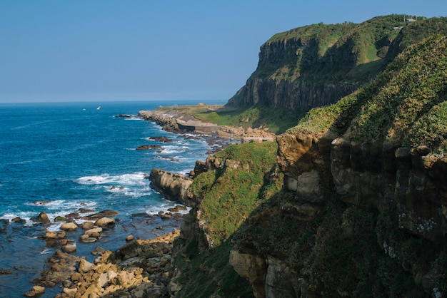 Wysokiego Kąta Strzał Piękna Faleza Zakrywająca Z Mech Blisko Morza Darmowe Zdjęcia