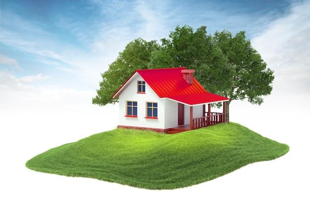 Wyspa Z Domem I Drzewami Unoszącymi Się W Powietrzu Na Tle Nieba Premium Zdjęcia