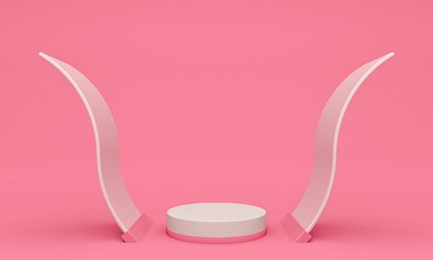 Wyświetl Tło Do Prezentacji Produktów Kosmetycznych, Podium Cylindrów Na Różowym Tle Premium Zdjęcia