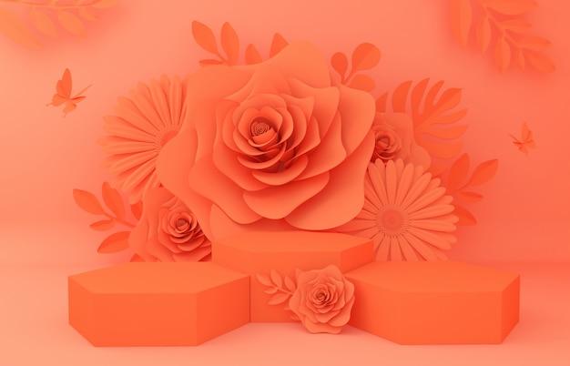 Wyświetl Tło Do Prezentacji Produktu Kosmetycznego. Pusta Gablota Wystawowa, 3d Kwiatu Papieru Ilustracyjny Rendering. Premium Zdjęcia