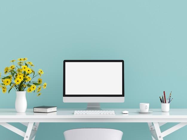 Wyświetlacz komputera makieta na stole Premium Zdjęcia