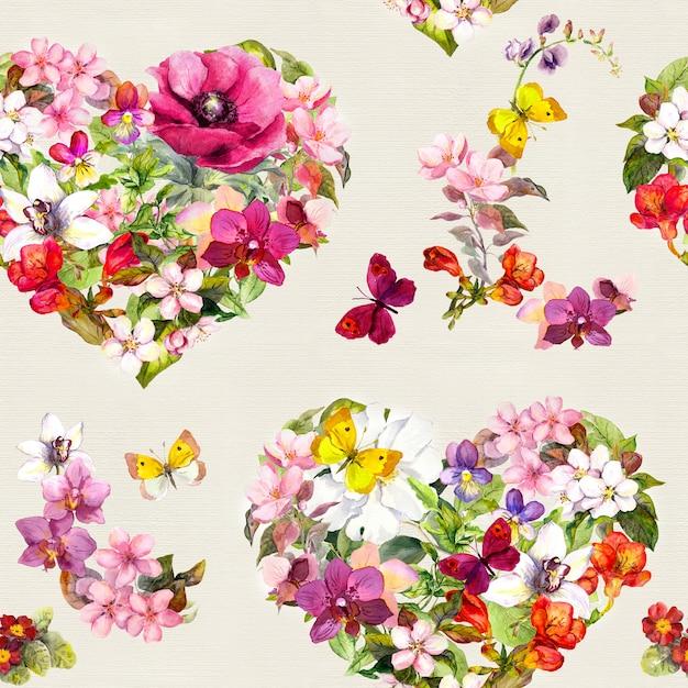 Wzór - Kwiatowe Serca Ditsy Z Kwiatami, Motyle łąka, Dzika Trawa. Akwarela Premium Zdjęcia