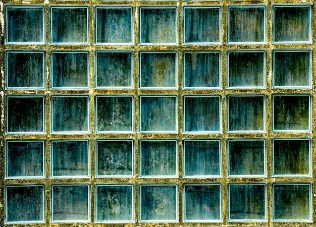Wzór szklanej bloku ściany tekstura i tło Premium Zdjęcia