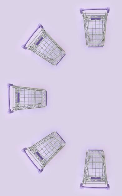 Wzór wiele małych wózek na zakupy na fiołkowym tle Premium Zdjęcia