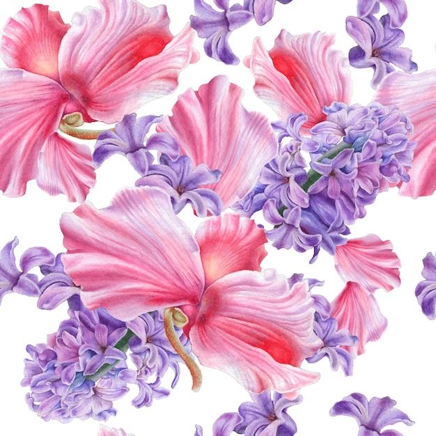 Wzór Z Kwiatami. Hiacynt. Cyklamen. Akwarela Ilustracja. Wyciągnąć Rękę. Premium Zdjęcia