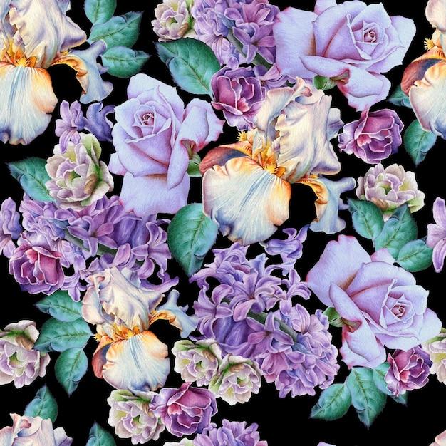 Wzór Z Kwiatami. Róża. Irys. Hiacynt. Akwarela Ilustracja. Wyciągnąć Rękę. Premium Zdjęcia