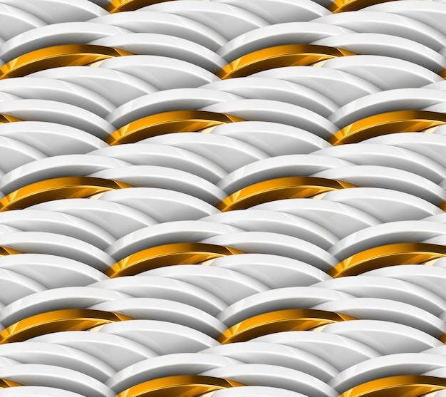 Wzór Z łańcucha Białe Monety I Złote Monety. Premium Zdjęcia