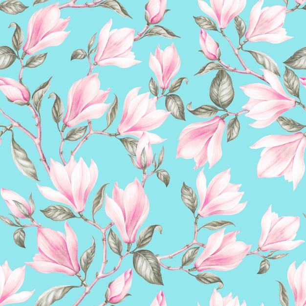 Wzór z magnolii. vintage bukiet kwitnących róż. akwarela botaniczna ilustracja wiosna kwiatów. pocztówka z gratulacjami, ślubem lub zaproszeniem. projektowanie tkanin z kwiatów. Premium Zdjęcia