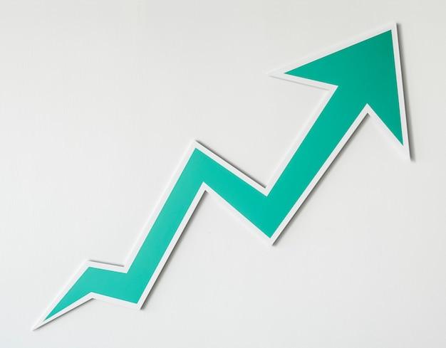 Wzrost Ikona Strzałki W Górę Na Białym Tle Darmowe Zdjęcia