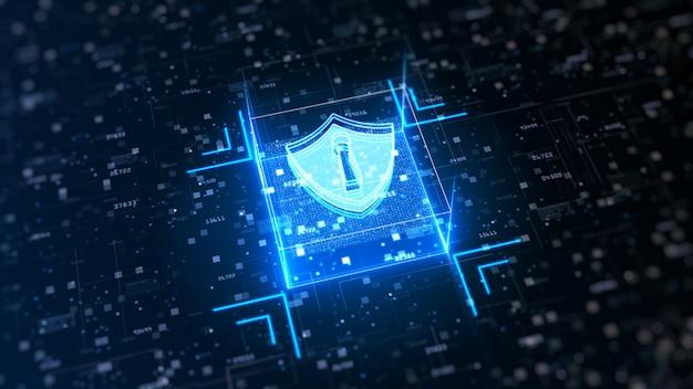 Zaawansowana technologicznie tarcza bezpieczeństwa cybernetycznego. ochrona sieci danych cyfrowych Premium Zdjęcia