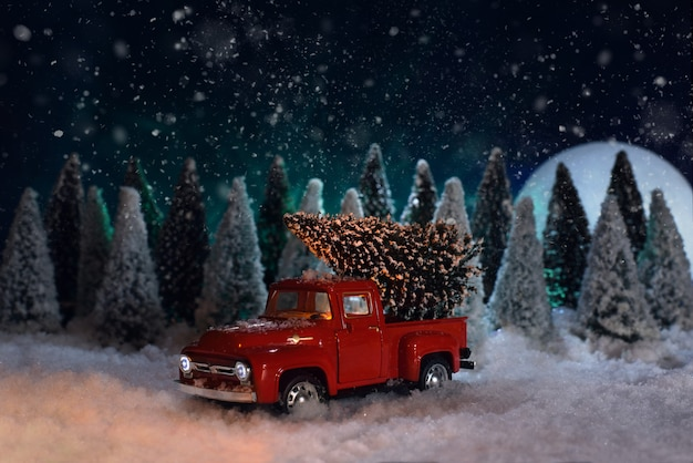 Zabawka czerwona pikap niesie choinkę w lesie Premium Zdjęcia
