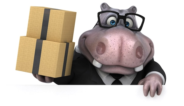 Zabawna Ilustracja Hipopotama Premium Zdjęcia