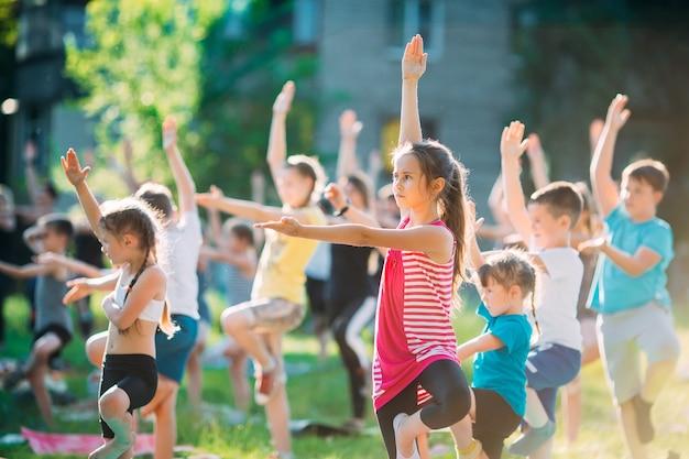 Zajęcia jogi na świeżym powietrzu. joga dla dzieci, Premium Zdjęcia