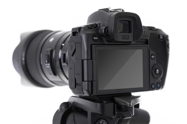 Zakończenie ekran i tylna część nowożytna czarna strzelająca kamera odizolowywająca Premium Zdjęcia