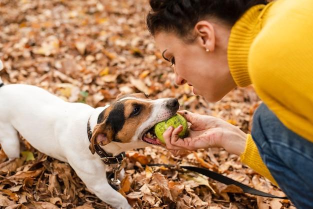 Zakończenie kobieta bawić się z jej psem Darmowe Zdjęcia