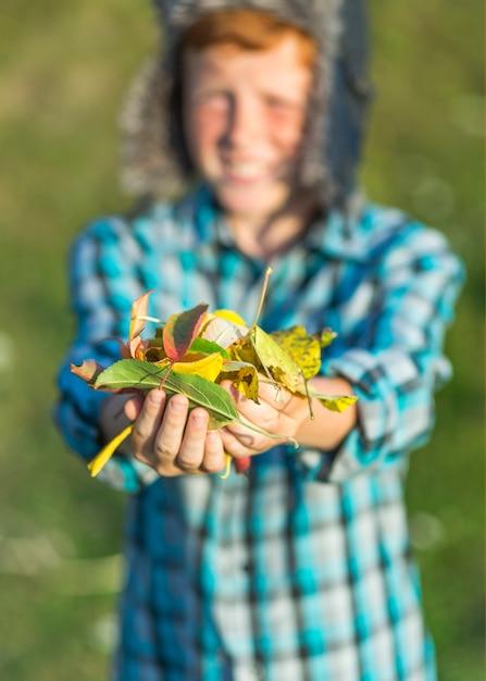 Zakończenie ręki trzyma jesień liście Darmowe Zdjęcia