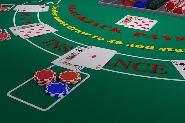 Zamknij Się W Tabeli Blackjacka Z Kartami I żetonami. Ilustracja 3d. Premium Zdjęcia
