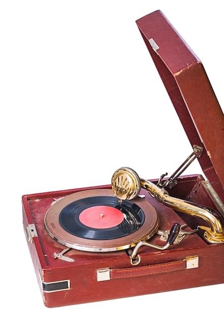 Zamknij Widok Na Gramofon Na Białym Tle Premium Zdjęcia