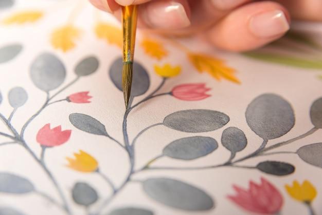 Zamyka Up Kwiatu Projekt Na Papierze Darmowe Zdjęcia