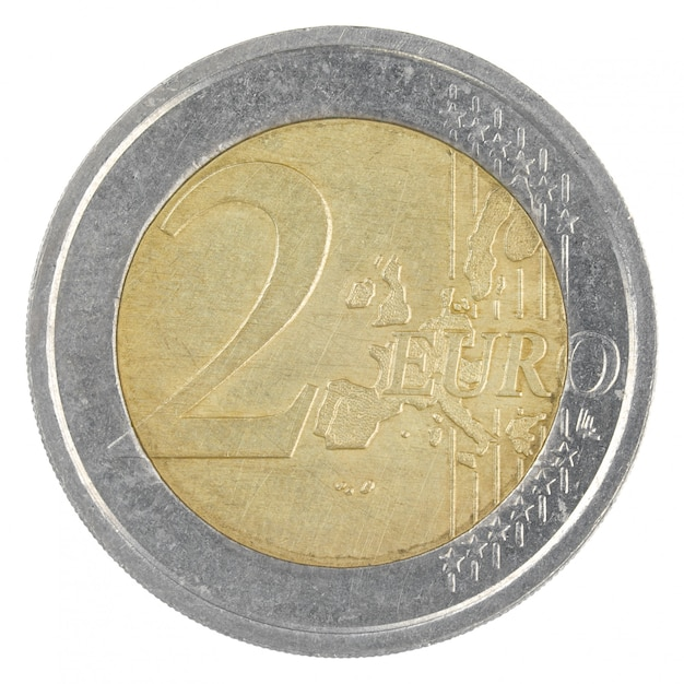Zamyka W Górę Strzału Stara 2 Euro Moneta Odizolowywająca Premium Zdjęcia