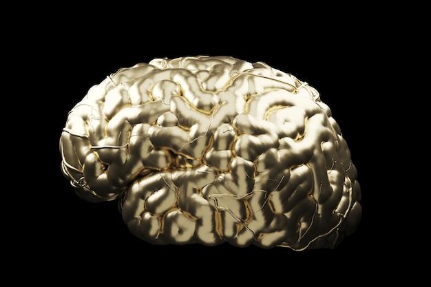 Zamyka W Górę Złotego Mózg Pojęcia. Renderowanie 3d. Premium Zdjęcia