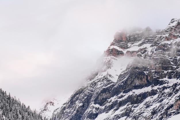 Zapierający Dech W Piersiach Krajobraz Zaśnieżonych Gór Z Szarym Niebem W Tle Darmowe Zdjęcia