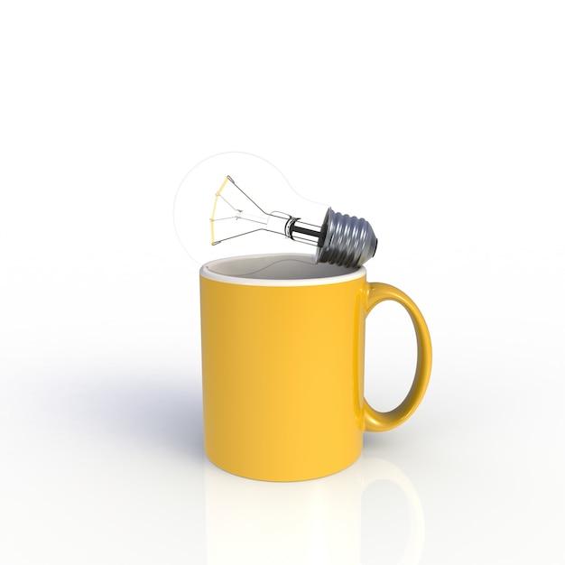 Żarówka Z żółtą Filiżanką Na Bielu Premium Zdjęcia