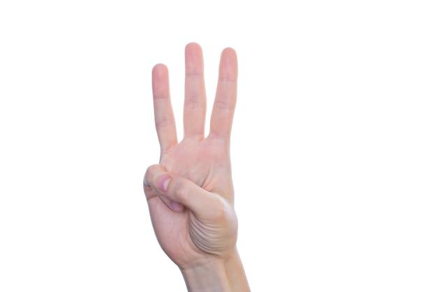 Zbliżenie Dłoni Pięknej Pani Sprawiają, że Daje Trzy Palce Na Białym Tle Na Białej ścianie Copyspace Premium Zdjęcia