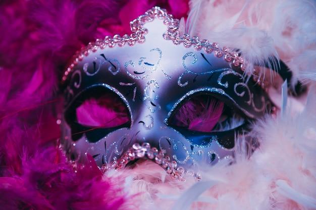 Zbliżenie: Karnawał Weneckie Maski Na Miękkie Pióra Darmowe Zdjęcia