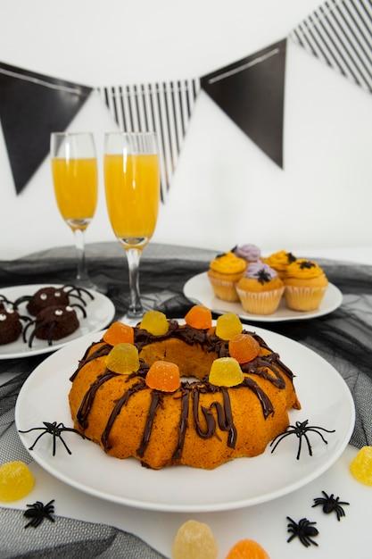Zbliżenie Na Pyszne Ciasto Halloween Premium Zdjęcia