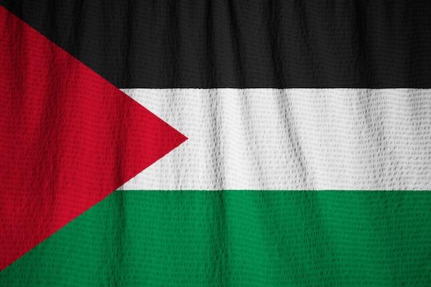 Zbliżenie Potargane Flaga Palestyńska, Flaga Palestyńska Wiejący Wiatr Premium Zdjęcia