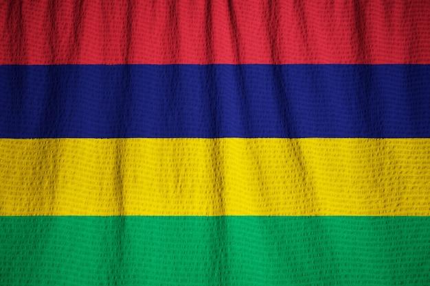 Zbliżenie Potargane Flagi Mauritius, Flaga Mauritiusa Wiejący Wiatr Premium Zdjęcia