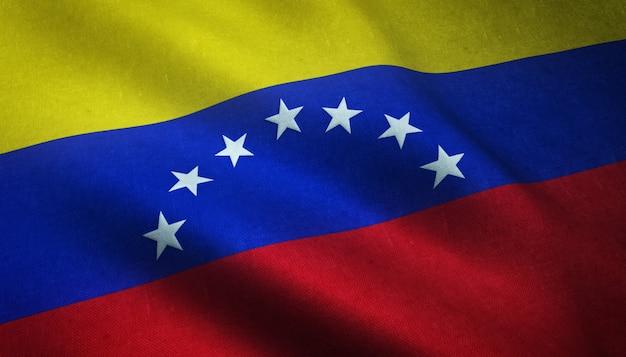 Zbliżenie Realistyczne Flagi Wenezueli Z Ciekawymi Teksturami Darmowe Zdjęcia