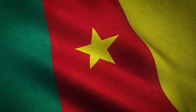 Zbliżenie Realistycznej Flagi Kamerunu Z Ciekawymi Teksturami Darmowe Zdjęcia